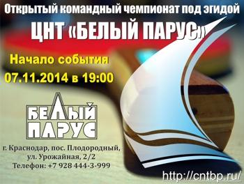 Командный чемпионат Краснодара под эгидой ЦНТ «Белый Парус»