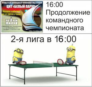 Командный чемпионат и 2-я лига 31.01.15
